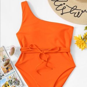 One Shoulder Belted One Piece Swimsuit-NWOT